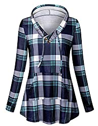 Viracy Women Hoodie Pullover Ladies Long Sleeve V Neck Sweatshirts Plaid Hoodie Shirt With Pocket Festival Holiday Xmas Prime Stretchy Swing Tunic Blouses Green Lattice M St Patricks Day