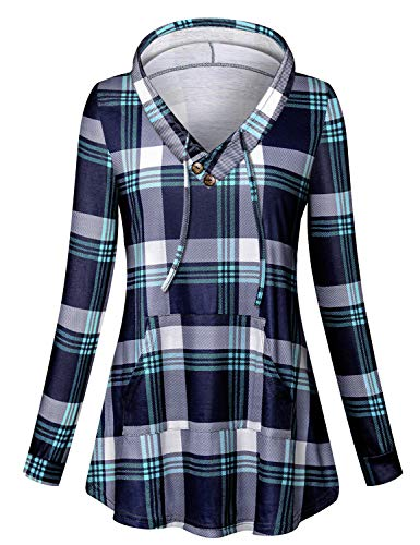 Viracy Casual Hoodies for Women, Maternity Long Sleeve Shirt V Neck Office Work Tunic Pullover Plaid Lightweight Thin Sweatshirt Dress Hoodie with Pocket Contrast Color Green Tartan L st Patricks Day