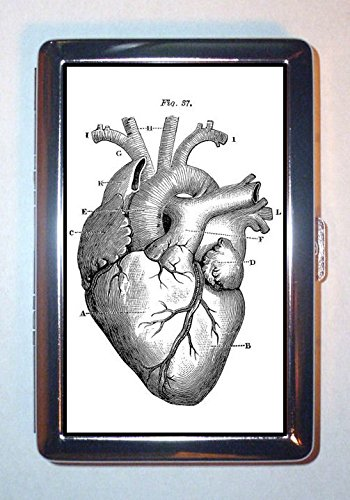 Gothic Victorian Heart Anatomy Medical Art: Stainless Steel ID or Cigarettes Case (King Size or -