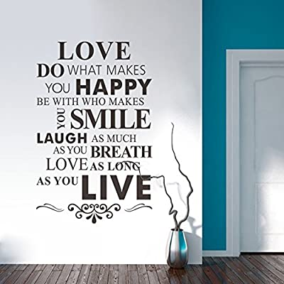 Ryuan LOVE DO HAPPY SMILE LAUGH BREATH LIVE Wall Art Stickers Wall Quotes Decal Decorative