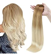 Full Shine Clip in Hair Extensions Seamless Weft 16 Inch Human Hair Clip in Extensions Skin Weft ...
