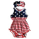 Qin.Orianna 4th of July Toddler Baby Girl American Flag Tassel Romper with Headband, 9 - 12 Months/Medium, Red