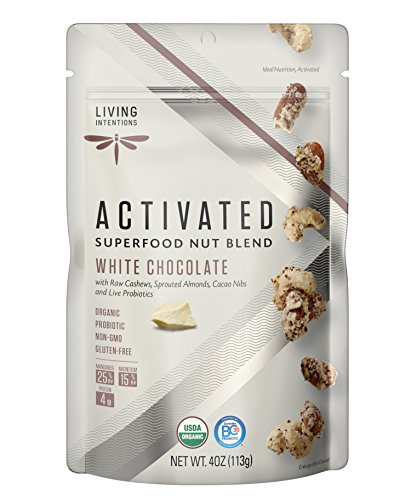 Organic White Chocolate - Living Intentions Activated Superfood Nut Blends, Gluten Free, Vegan, Organic, Paleo, White Chocolate, 4 Ounce