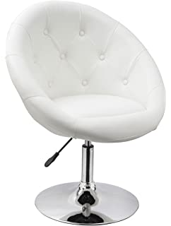 Duhome Jumbo Size Luxury White Synthetic Leather Contemporary Round Swivel  Vanity Accent Chair Tufted Adjustable Lounge