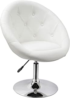 Duhome Jumbo Size Luxury White Synthetic Leather Contemporary Round Swivel Office Computer Accent Chair Tufted Adjustable  sc 1 st  Amazon.com & Amazon.com: Round Tufted Swivel Chair White and Chrome: Kitchen u0026 Dining