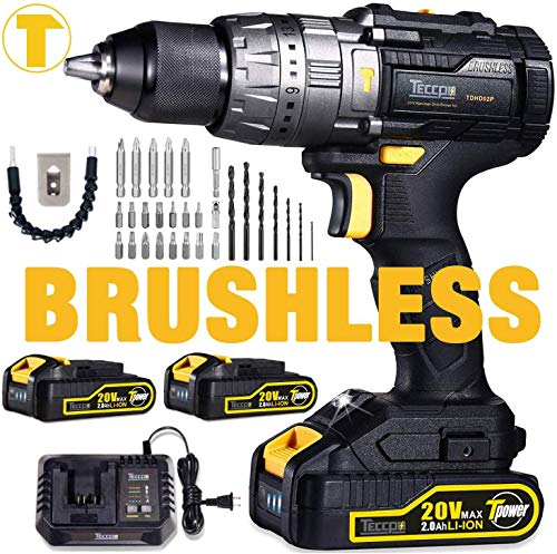 """Brushless Drill, TECCPO 20V Cordless Hammer Drill 530In-lbs, 2 Batteries 2.0Ah, 30min Fast Charger, 21+3 Torque Setting, 29pcs Free Accessories, 2-Speeds, 1/2"""" Metal Chuck"""