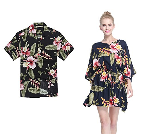(Couple Matching Hawaiian Luau Aloha Shirt Poncho Dress in Black Rafelsia)