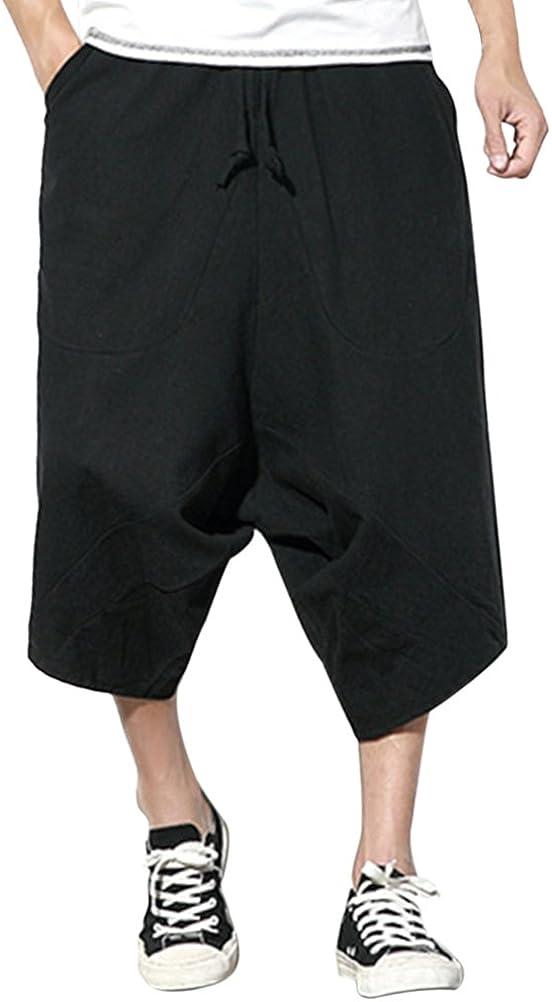 Zhhlinyuan Thai Boho Baggy Harem Pants Mens Youth Casual Beach Cropped Pants Loose