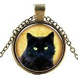 ForestKing Black Cat Necklace - Peeking Black Cat Pendant - Cute Black Cat Jewelry