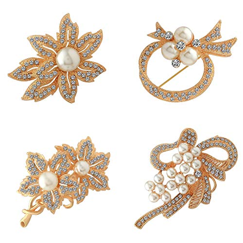 Crystal Shiny Brooch Pin - Brooches pin Classic Gold Flower Pearl 4 Pack Brooch Pin with Shiny Created Crystal brooches for Women