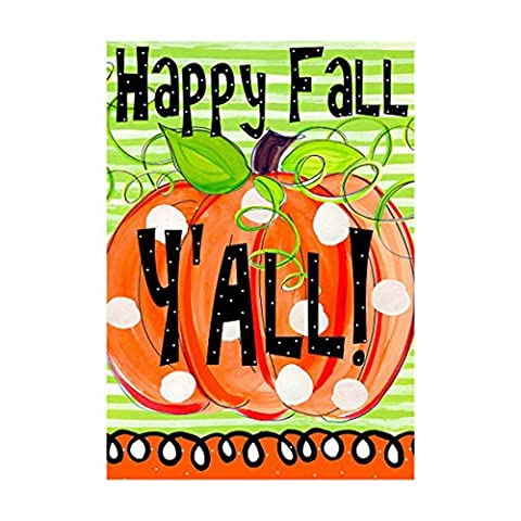 Autumn Decor Falg Happy Fall Y'All Outdoors Flags Of Double Sided Waterproof And Fade Resistant Printed Banners 28 X 40 Inch 100% - Double Sided Pole