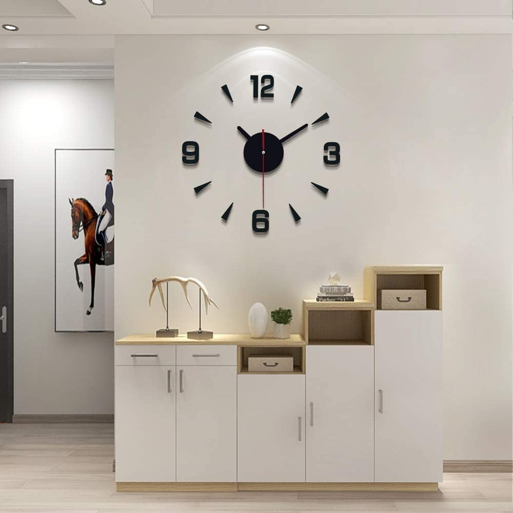 YIJIDECOR Small Wall Clock DIY Room Decor,Acrylic Mirror Stickers Quiet Mechanism Frameless Home Decoration for Living Room Bedroom Kitchen,Black 16