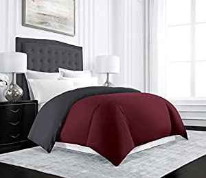 Uptown Hotel Collection Luxury Reversible Duvet Cover Set - Luxurious Soft-Brushed Microfiber, Hypoallergenic and Stain Resistant - King/California King - Burgundy/Gray