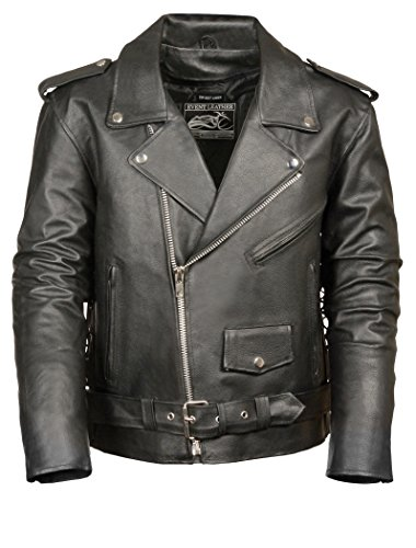 Event Biker Leather Men's Basic Motorcycle Jacket with Pockets (Black, Large)