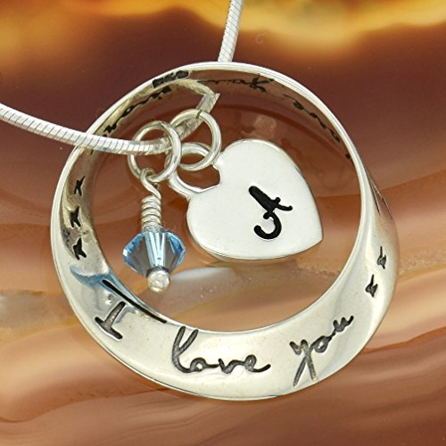 Circle Birthstone Charm - 925 Sterling Silver Circle of Love Pendant Custom Personalized Hand Stamped Initial Letter Heart Crystal Birthstone Charm Chain Customizable Necklace Gift