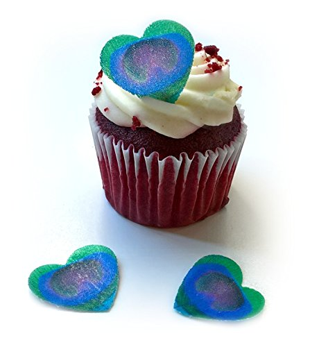 - 24 Green Purple Pink Fuchsia Heart Love Edible Wafer Paper Peacock Feathers Very Small 0.75
