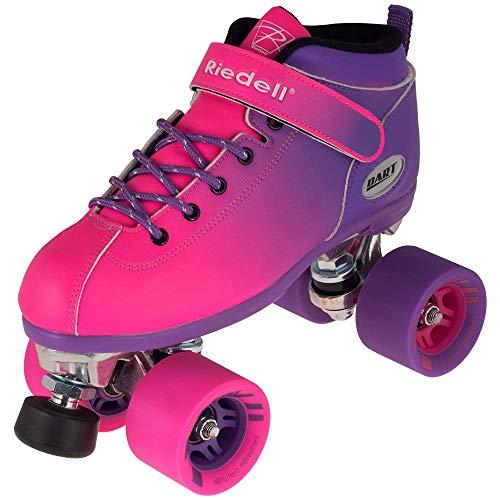 (Riedell Skates - Dart Ombré - Quad Roller Speed Skate | Purple & Pink | Size 6 )