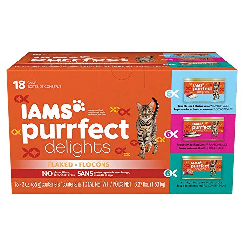 IAMS PURRFECT DELIGHTS Flaked Adult Wet Cat Food, Variety Pack Seafood, 3 oz. (Pack of 18)