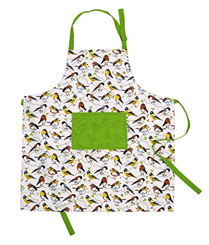 Apron Bird - Mayfair Linen 100% Cotton Apron with an Adjustable Neck & Visible Centre Pocket, 27.50 - inch by 31.50 - inch Designed in France (Birdie)