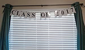 Class of 2017 White Paper Graduation Garland Bunting Party Decoration Banner from Cake Supply Shop