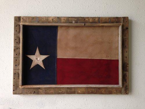 Barn Wood Framed Cotton Tea Stained Texas Flag