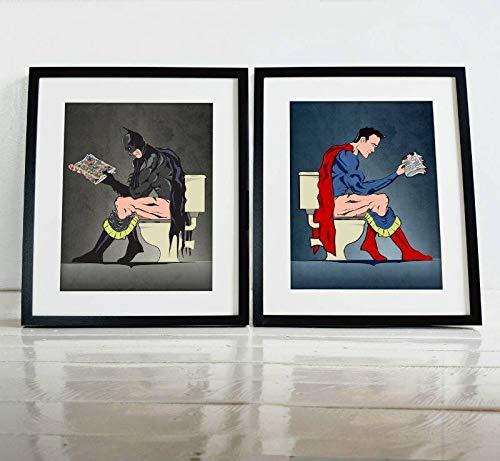 Batman Superman On The Toilet Parody Poster Print Set ()