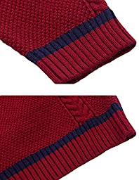 MFrannie Boys V Neck Pure Color Jacquard Weave Elastic Soft Sweater Red 9-10T