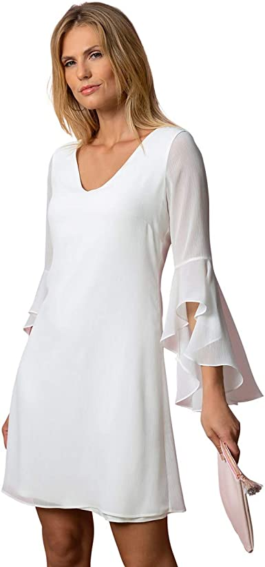Bleu D Azur Robe Blanche Habillee Decollete Dos Croise Estel Amazon Fr Vetements Et Accessoires