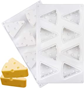Cheese Shape Mold 8 Cavity Silicone Baking Mold Mousse Cake Mold Food Grade Silicone Molds for Brownies, Chocolate Cakes,Soap,Ice cream Cakes