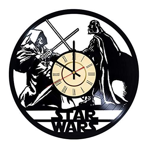 Obi-Wan Kenobi Vs. Darth Vader Vinyl Clock Gift for Star Wars Fans Jedi Wall Decor New Hope Art Anakin Skywalker Home & Living Room Artwork