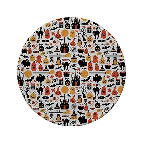 Non-Slip Rubber Round Mouse Pad,Halloween,Halloween Icons Collection Candies Owls Castles Ghosts October 31 Theme Decorative,Orange Yellow -
