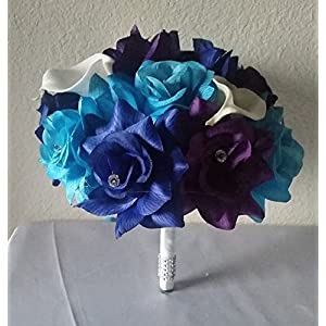 Peacock Purple Blue Turquoise Rhinestone Rose Calla Lily Bridal Wedding Bouquet & Boutonniere 32