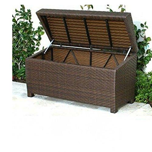 Wicker Storage Bench Outdoor Ottoman Patio Deck Cubby Garden Lift Top Storage Organizer Furniture & Ebook By Easy2Find. by STS SUPPLIES LTD