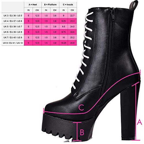 Plataforma Spylovebuy Bloque Oxking Cuero Botes Negro Sintético Tacón Bajas Zapatos Mujer ESA7qA