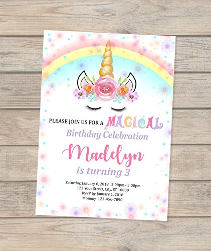 Image Unavailable Not Available For Color Unicorn Birthday Party Invitations