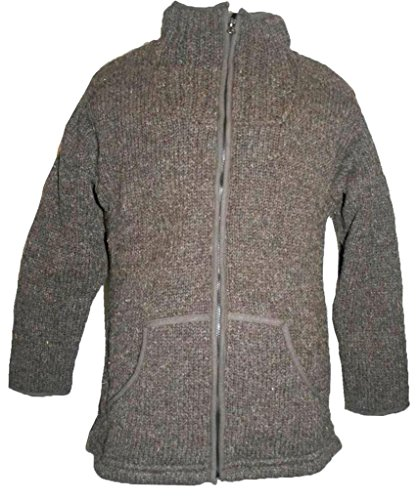 06 WJ Agan Traders Lamb Wool Fleece Lined Knit Jacket (L, Gray)