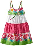 Youngland Girls 2-6X Sleeveless Tier Sundress With Braided Straps, Green/White, 3T image