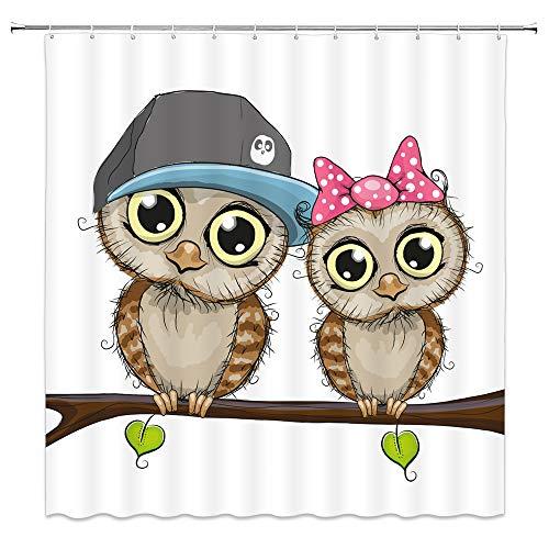 AMNYSF Cute Owls Shower Curtain Cartoon Owl Couple Wildlife Tree Branch Romance Love Decor White Fabric Bathroom Curtains,70x70 Inch Waterproof Polyester With 12pcs -