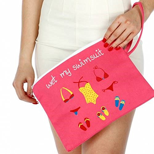 Knitting Factory Water Proof Cotton Wet Bikini Bag Wet My Swimsuit Selection (Pink)