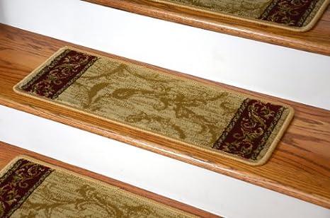 Premium Carpet Stair Treads   Tan Scrollworks 13 Pack