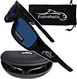 Fishoholic Polarized Fishing Sunglasses w Free Hard Case & Pouch UV400 100% UV Protection. Best Gift to Fish River Lake Bass Saltwater & Flyfishing (R) Trademark (Gloss Black, Blue Mirror)
