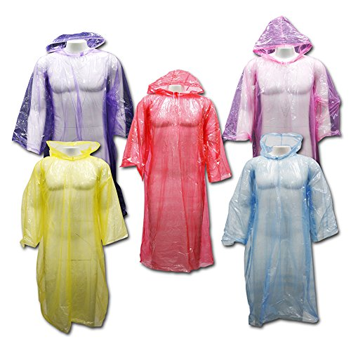 Outdoor Alchemist 5 Pack Emergency Rain Ponchos with Sleeves and Drawstring Hood, Long Large Plastic for Hiking or Camping, One Size Fits Adult Disposable Rain Coat Gear for Men or Women (Assorted)