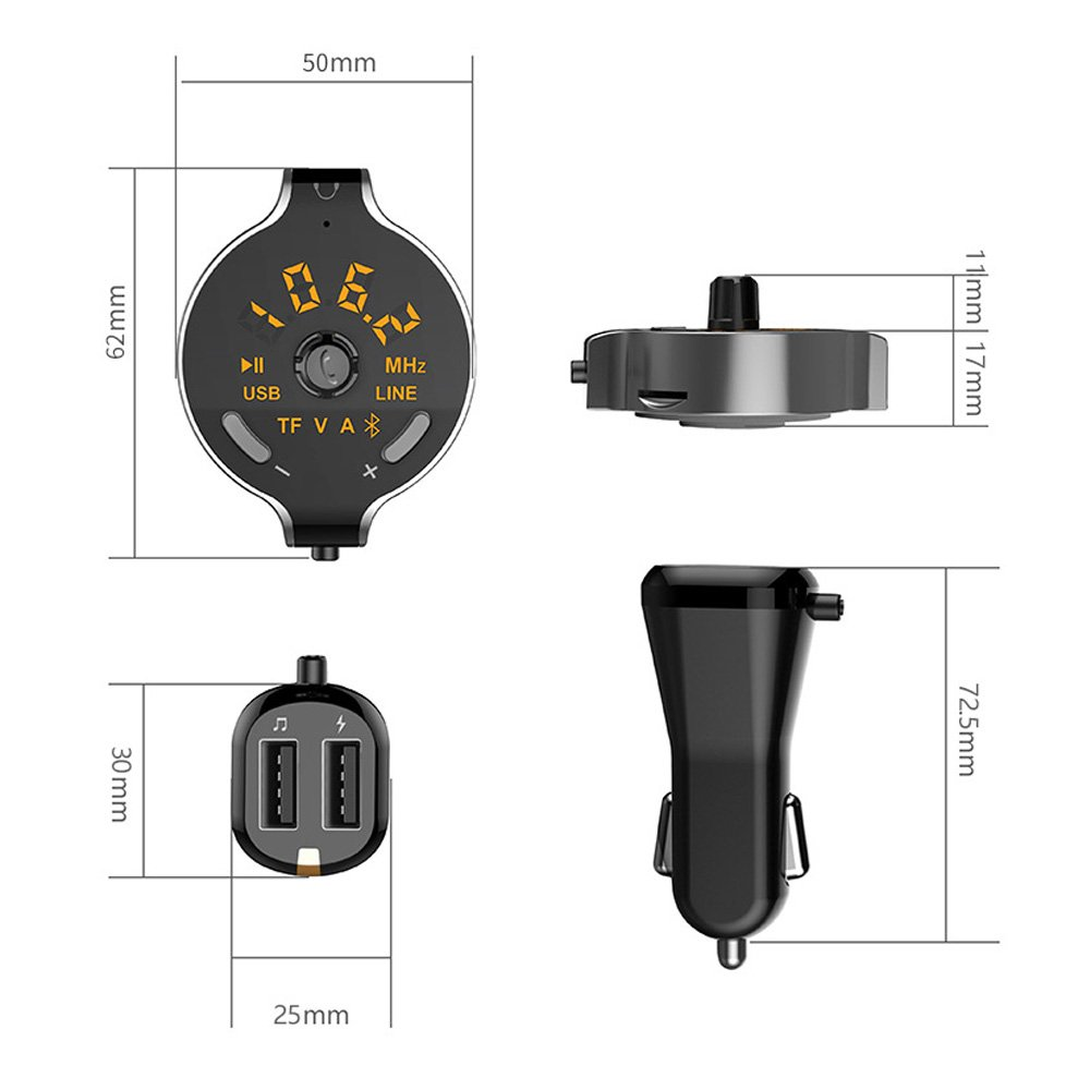 Bluetooth FM Transmitter,Konrisa Wireless A2DP Bluetooth 4.2 Car MP3 Player Handsfree Calling FM Transmitter Modulator Aux Out with TF Card Slot Aupolo 4351493976