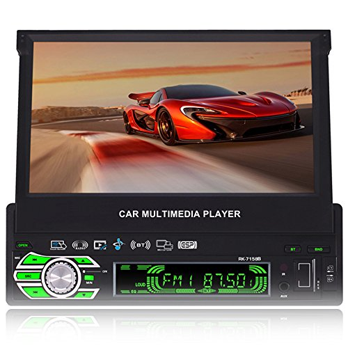 7-inch Single DIN In-Dash GPS Navigation For Car with Rear View Camera,Support Offline GPS Navigation,Flip Out Touch Screen Car Stereo (4 Pin Din Auto)