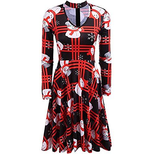 iShine Weihnachtskleid Damen VAusschnitt Langarm Kleid mit ...