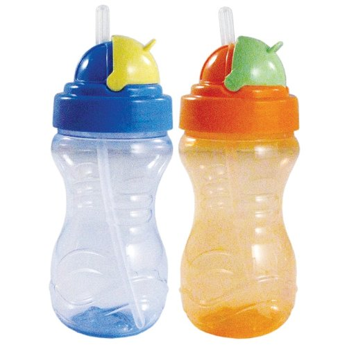 2-Pack 12 ounce Nurtria Flip-Top Straw Sipper, Boy Colors, Baby & Kids Zone