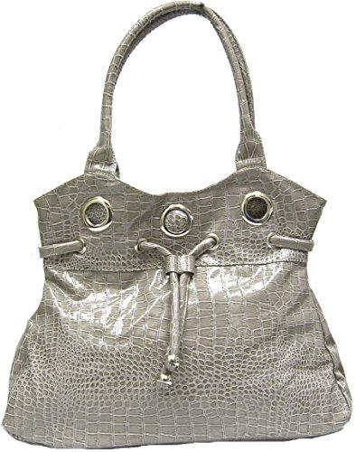 Limelight Cinched Patent Faux Crocodile Leather Purse Medium Shoulder Handbag (Crocodile Print Patent Bag)