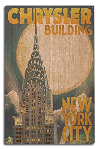Lantern Press New York - Chrysler Building and Full Moon (10x15 Wood Wall Sign, Wall Decor Ready to Hang)