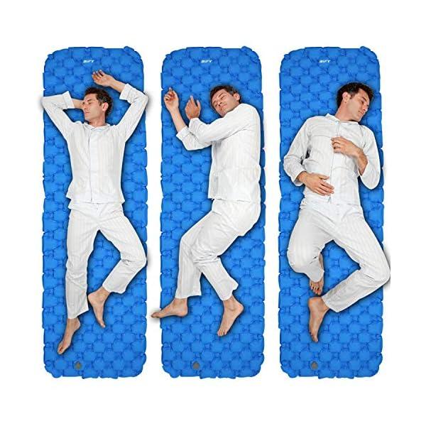 51O%2BXWf3NCL BIFY Isomatte Camping Schlafmatte Ultraleicht Kleines Packmaß. Aufblasbare Luftmatratze für Outdoor Camping, Reise…