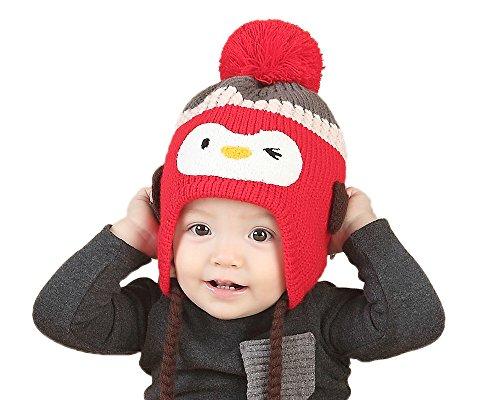 GZMM Toddler Infant Baby Woolen Winter Earflap Beanie Hat Unisex Cap Penguin Design